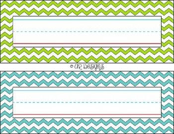 "FREEBIE!!! Student Name Plates - Chevron design with bright colors - Perfect classroom decor!This is my first listing/creation for TpT. Please provide feedback!!These were originally made with Photoshop (11x8.5 inch canvas size, 300 dpi). I did a few test prints and found that they print best with the ""Fit"" option (94% scale)."