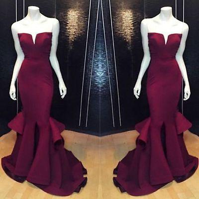 NEW-Satin-Burgundy-Mermaid-Long-Evening-Dress-Bridal-Wedding-Prom-Pageant-Dress