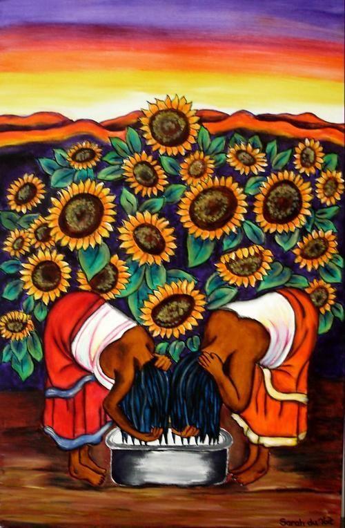 Buy Woman washing hair LARGE painting - 76 x 51 cmfor R780.00