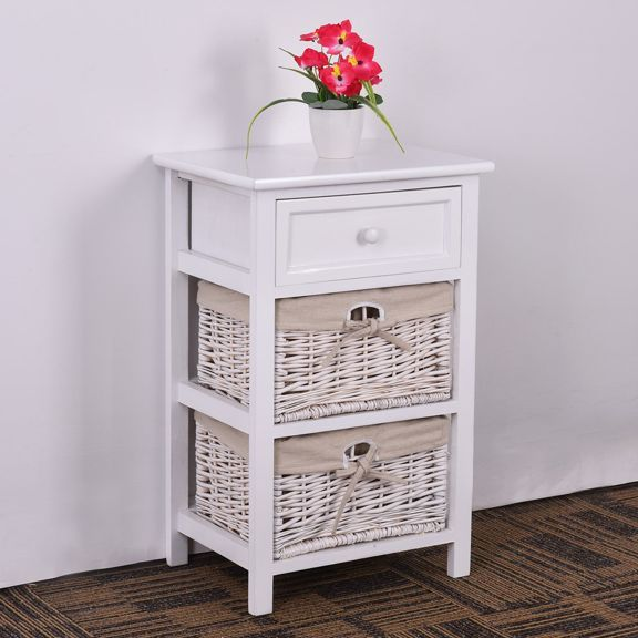 Costway 2pcs Night Stand 3 Tiers 1 Drawer Bedside End Table Organizer Wood W 2 Baskets With Images Drawer Nightstand Nightstand Wooden Drawers