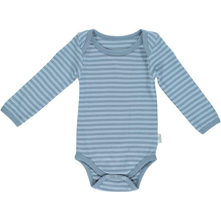 Okker-Gokker organic GOTS certified, made in India, 98% organic cotton, 2% elastane.  Dusty blue striped bodysuit with blue trim. $53.95 http://www.danskkids.com.au/collections/spring-summer-2015/products/okker-gokker-dusty-blue-bodysuit