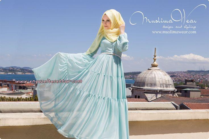 muslima wear 2014-2015 koleksiyonu iç göstermeyen uzun kapalı tesettür elbise modelleri