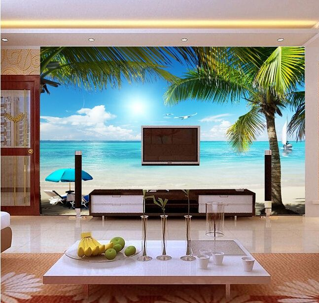beach boat scenic murals for the living room bedroom tv background