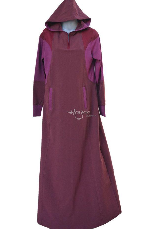 "EFFA Cherry 4"" Zip Modern Islamic Clothing Hooded Casual Sporty Abaya Jilbab"
