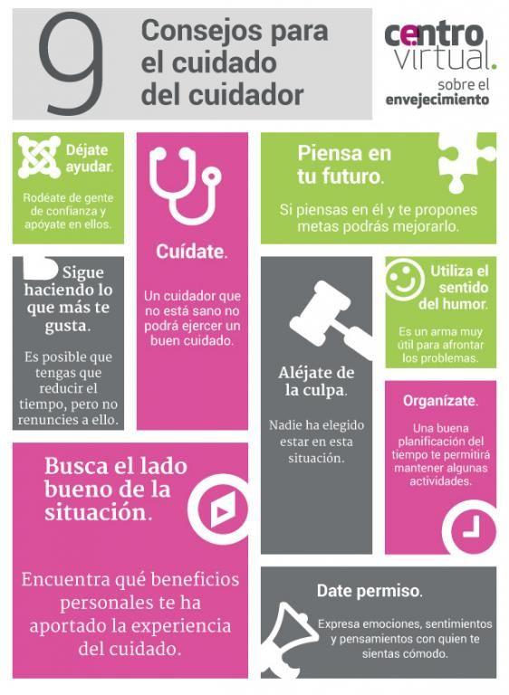 #Infografia 9 consejos para el cuidado del cuidador