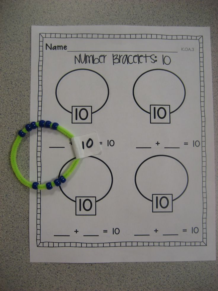 Addition to make 10 using bead and pipecleaner bracelets