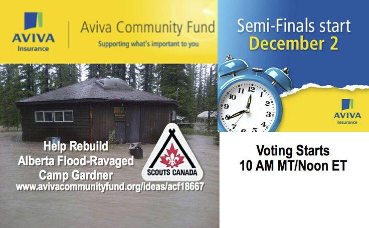 Help Rebuild Alberta flood-ravaged Camp Gardner for kids. Please Vote Daily, Dec. 2 to Dec. 11. Starting at Noon ET, 10AM MT.
