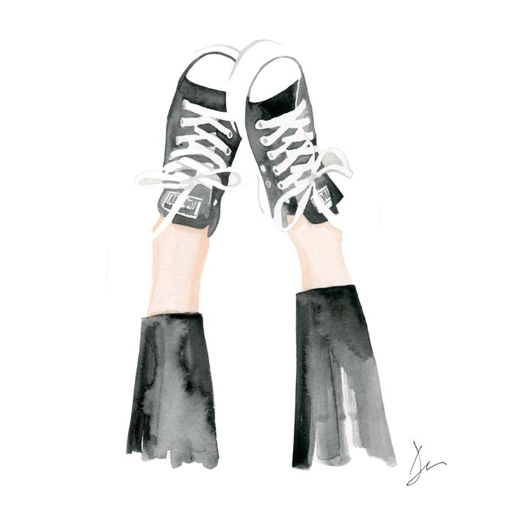 "Watercolor Fashion Illustration ""Kickin up my Chucks"" Giclee Art Print Home Decor Wall Art Converse Shoes by denacooper on Etsy https://www.etsy.com/listing/293564321/watercolor-fashion-illustration-kickin"