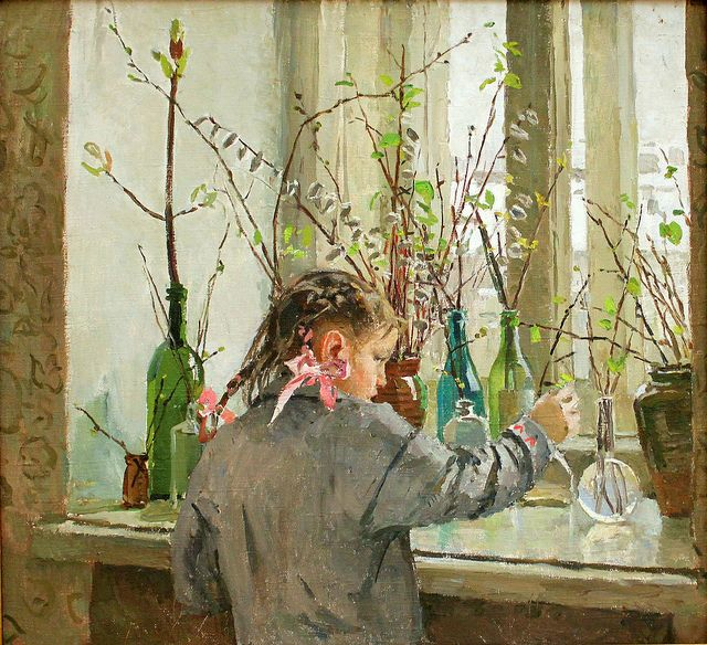 """Spring on the Windowsill,"" by Tatyana Yablonskaya (1917-2005)    A painting in the Russian Museum, Saint Petersburg, Russia.    Comments"