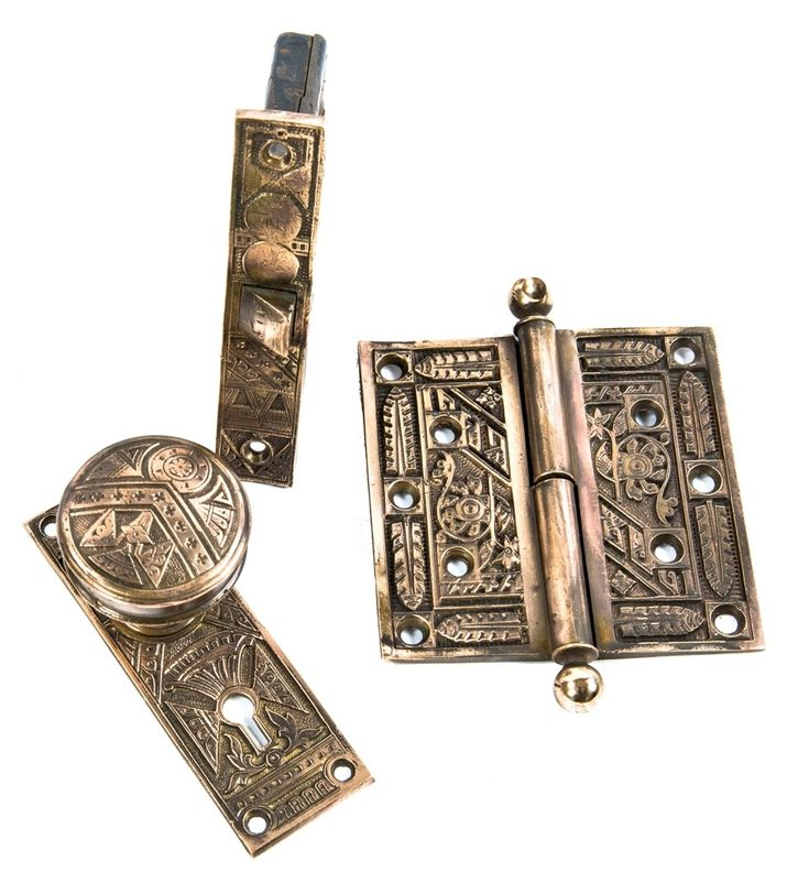 group of incredible 19th century antique american salvaged chicago ornamental cast brass residential door hardware with functional mortise lock and loose pin hinge