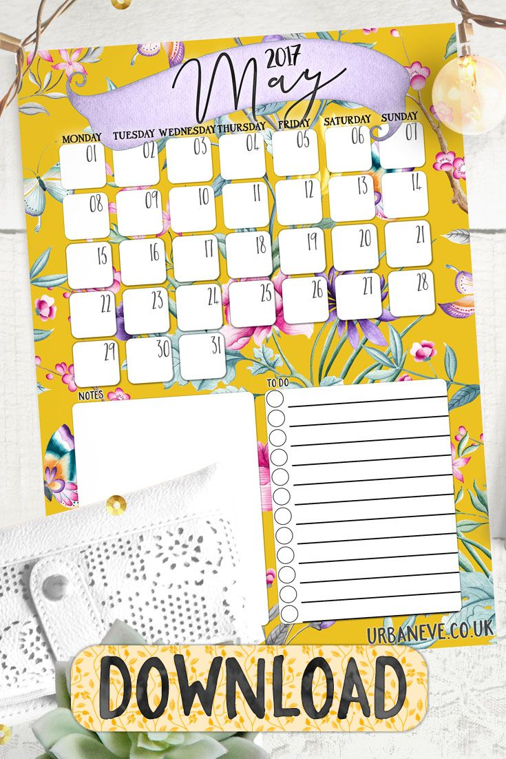 Free printable calendar for May - with notes and to-do lists
