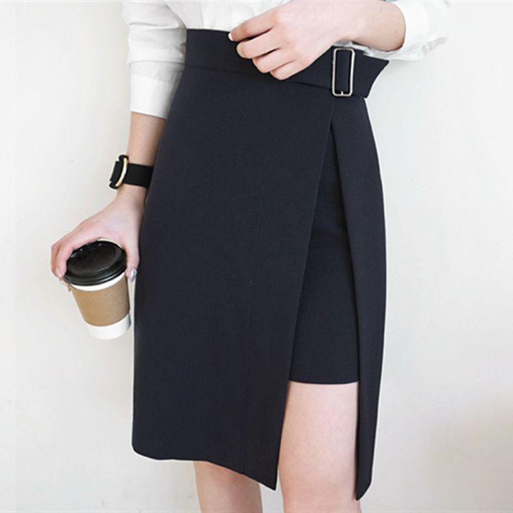 AUFYSO Skirts Womens 2018 Spring Summer Korean Office Lady Elegant Side Split Asymmetrical Slim High Waist Black Midi Skirt B139
