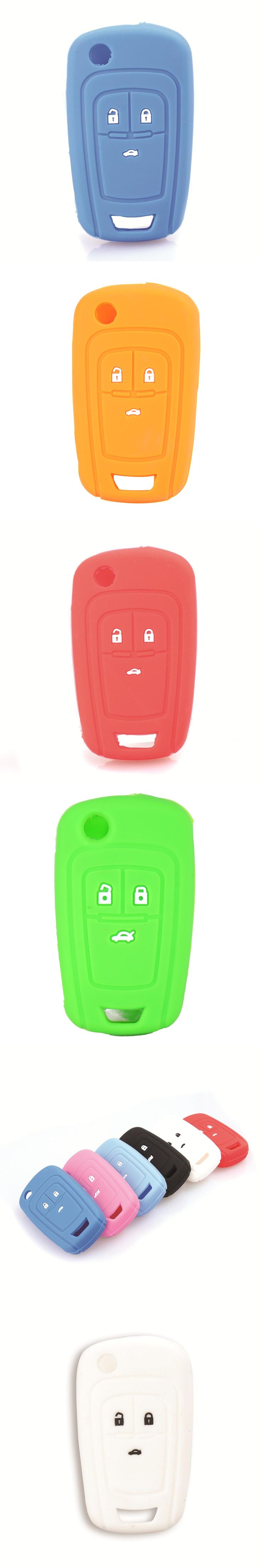 3 Buttons Silicone Car Key Cover Case For Chevrolet Cruze 2013 Spark Onix Silverado Volt Camaro Aveo Sonic Remote