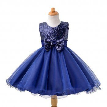 Girl's Wedding Party Pageant Birthday Dress Beautiful Sequin & Bow Overlay Sleeveless Dress in Dark Blue