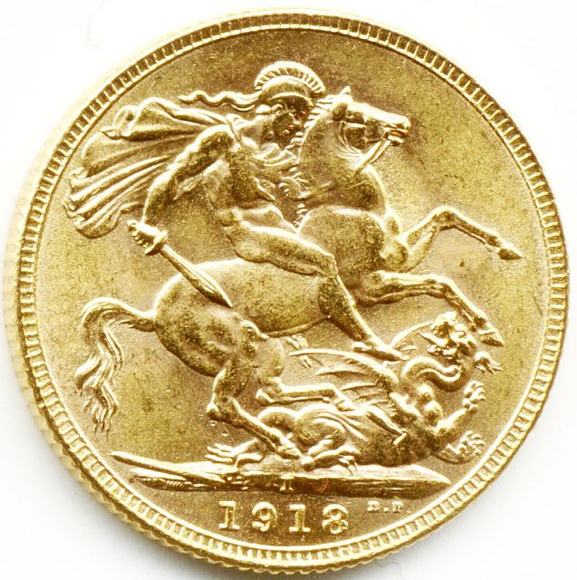 1918 Bombay Mint King George V Gold Full Sovereign Coin