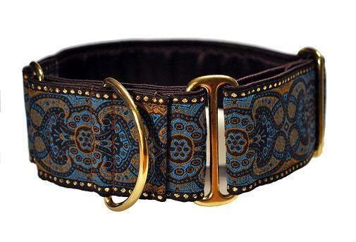 Martingale Collar: Blue Espresso Jacquard by TheHoundHaberdashery