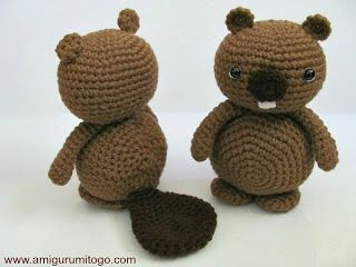 Amigurumi Beaver Free Tutorial brown crochet beavers with wood Make this super cute and easy amigurumi Beaver yourself with this free patt...