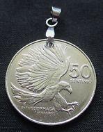 1984 Philippines Coin Pendant, 50 Sentimo Eagle