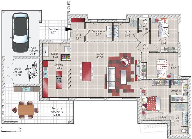211 best plan maison images on Pinterest House design, Floor plans - plan de maison 120m2 plain pied