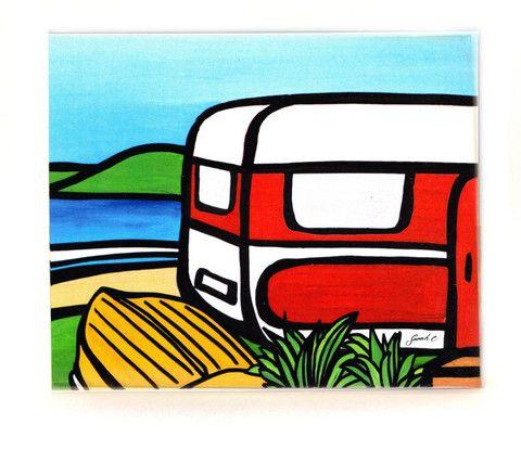 Sarah C Art Block : Caravan and Dinghy – www.themotelshop.co.nz