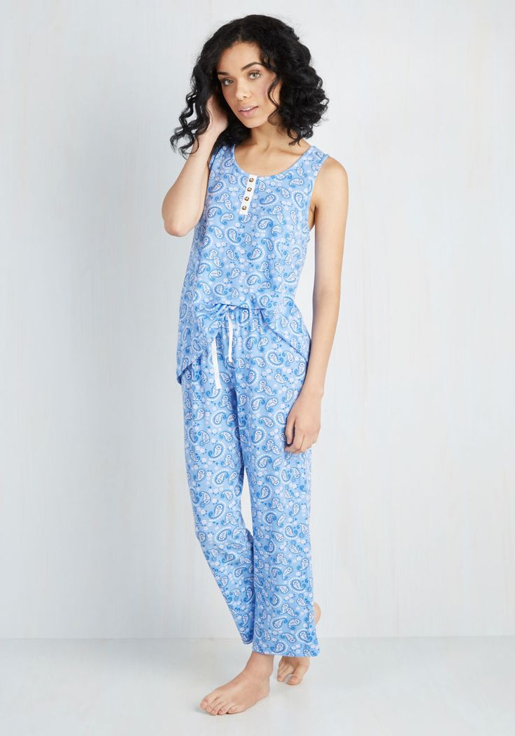 What Good Snooze! Pajamas - Blue, Multi, Paisley, Bows, Dorm Decor, Darling, Casual, Sleeveless, Scoop
