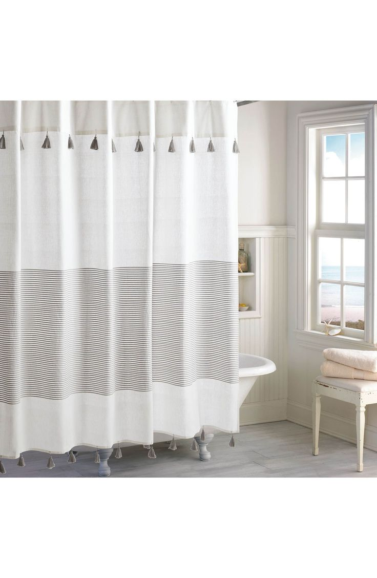 Mint green shower curtain and rugs - Main Image Peri Home Panama Stripe Shower Curtain