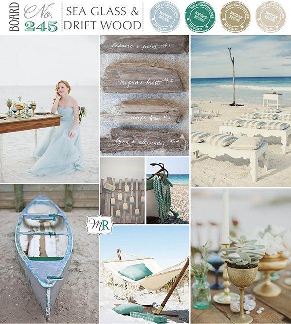 Sea Glass  Drift Wood Inspiration Board #beachwedding #beachinspiration