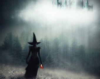 Arte, impresión de bruja, Halloween arte, arte de la pared, regalo de bruja, impresiones de fotos, arte gótico, arte espeluznante, arte de cuento de hadas, mago de Oz, la bruja malvada de la bruja