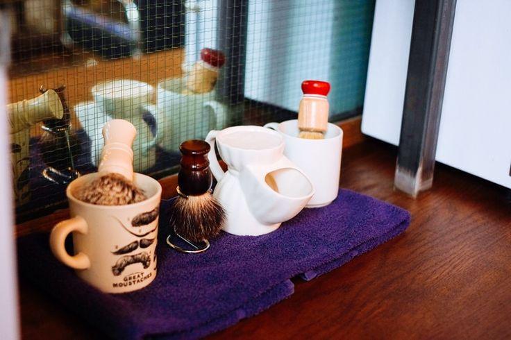 Shaving materials; badger hair brushes