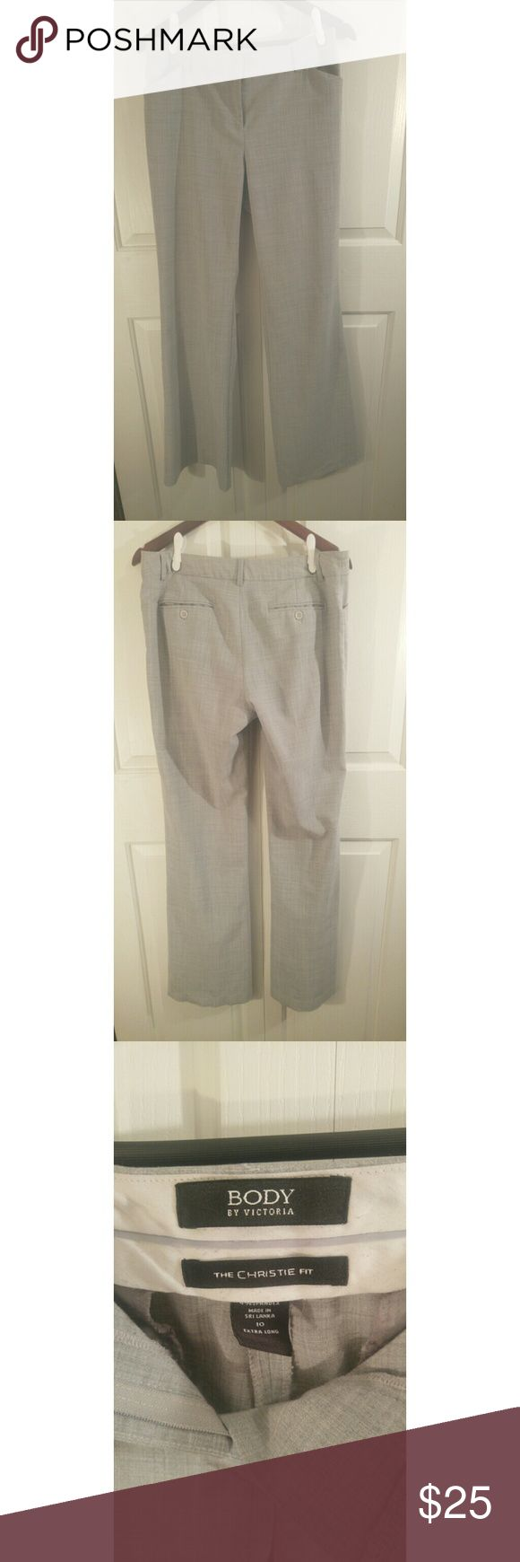 "Victoria's Secret Long Dress Pant Size 10 Body By Victoria Dress Pant The Christy Fit, Boot Cut Size 10,  34"" inseam Light Heather Grey Pants are not Lined In Great Condition Victoria's Secret Pants Trousers"