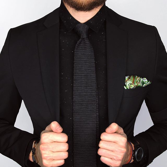 Black on black ⚫️ The Brisbane bamboo shirt, Black knitted tie and Green paisley silk ps.  www.Grandfrank.com