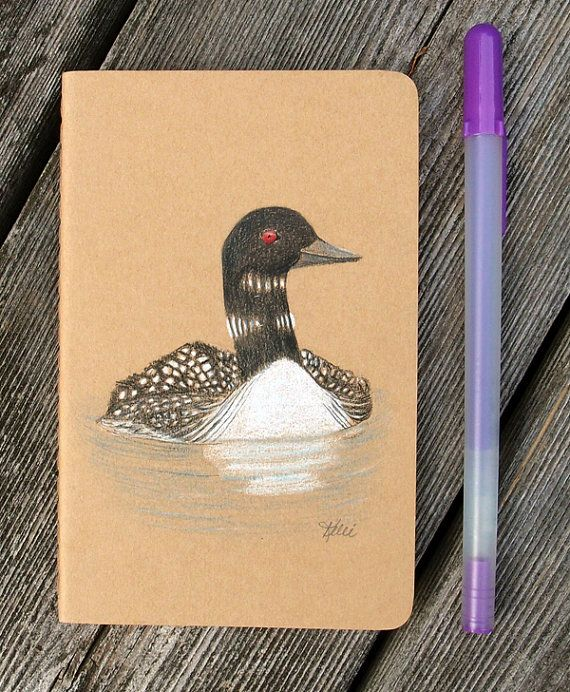 Loon Hand Painted Notebook  Dream Journal  by KelliMcNicholsArt