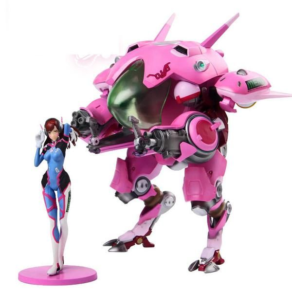 This is an amazing piece for any Overwatch fan! Dva + Mech figure set! The Mech stands at 10 inches tall! You can move the fusion cannons up and down and Dva stands beside her Mech looking bad ass with her hands through her hair. This is a MUST HAVE for any Dva fan, and would look awesome on your gaming desk!