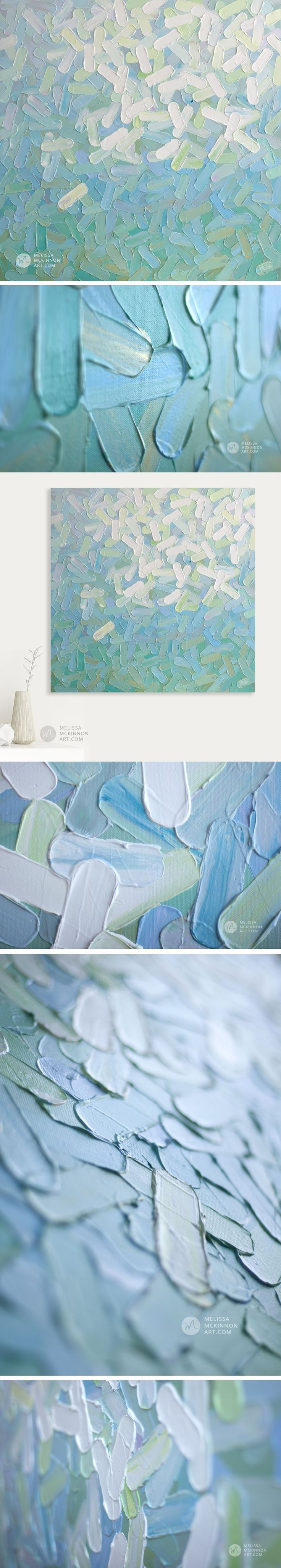 """Soothing Aqua, Turquoise, Blue White Abstract Painting by Contemporary Abstract Artist Melissa McKinnon """"Daydream"""" 36″x36″ 