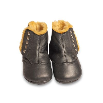 Old Soles North Pole Boot in Slate Metallic with Bronze Studs #BabyGirl #Shoe #Boot #Sweetthing sweetthing.com.au