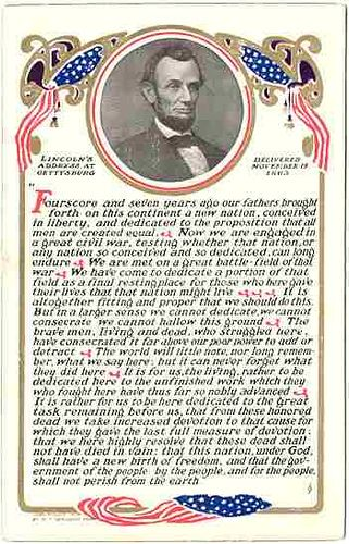 Lincoln postcard with Gettysburg Address
