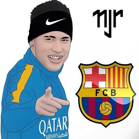 @neymar ⚽️✏️ #neymar #neymarjr #neymar11 #barcelona #nike #qatar #quatarairways #desenho #paint #caricatura #art #futebol #njr #njr11