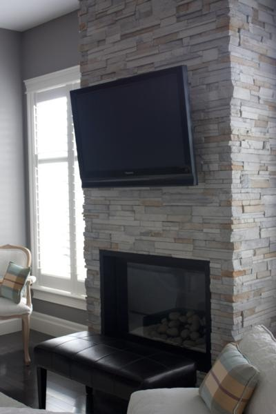 Tv Over Fireplace With Ledgestone Mantel For The Home