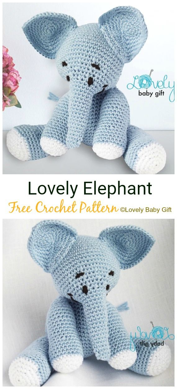 Crochet Elephant Softie and More Free Patterns Tutorials | Crochet ... | 1250x570