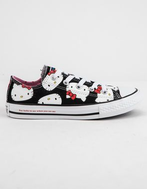 0e6ef5624e CONVERSE x Hello Kitty Chuck Taylor All Star Black   Prism Pink Low Top  Girls Shoes
