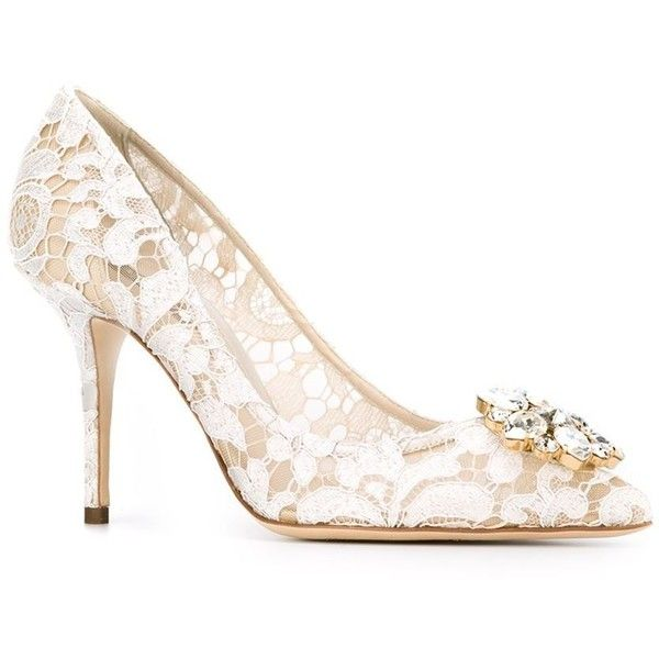 Dolce & Gabbana 'Belluci' pumps ($995) ❤ liked on Polyvore featuring shoes, pumps, pointed toe pumps, champagne pumps, leather pumps, leather shoes and off white shoes