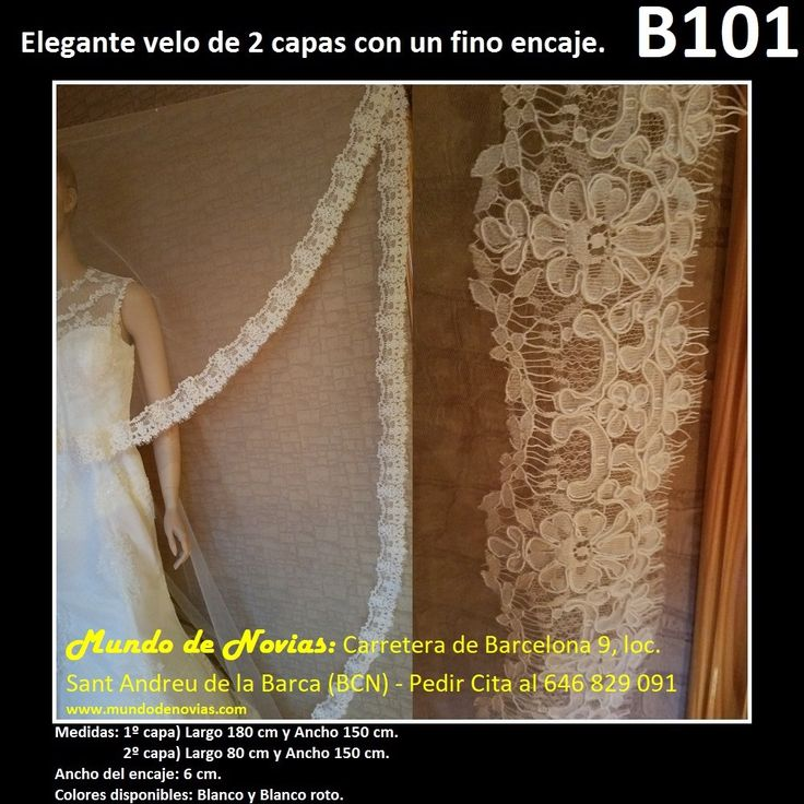 Elegante Velo de Novia Corto, de Tul con puntilla (encaje), de la marca Novias Ukraine. Se hacen envíos a toda España (WhatsApp 646829091).