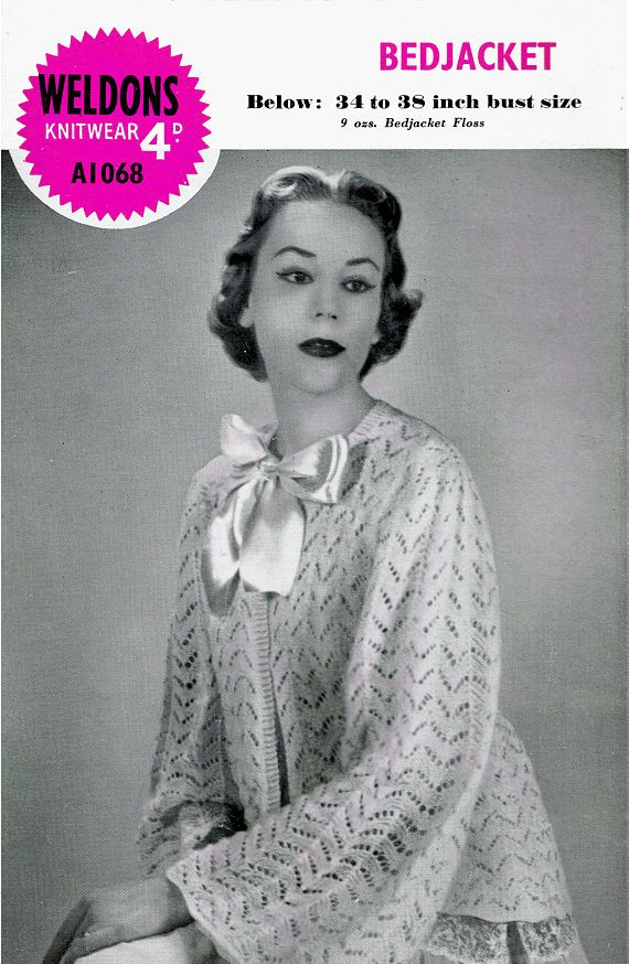 PDF  Vintage Womens Ladies Bed Jacket Knitting Pattern 1940s