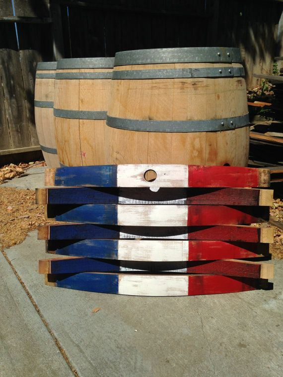 Hand Crafted France Flag Wine Barrel Wall Hang by Martellas, $150.00