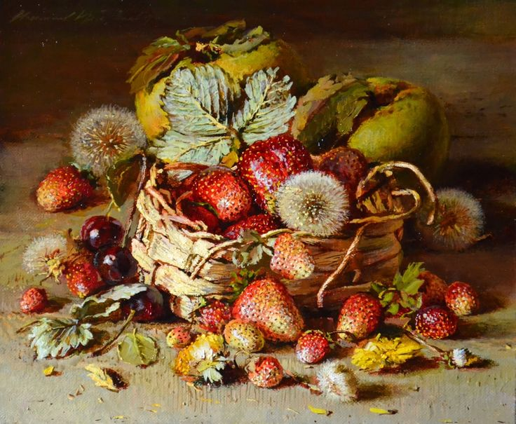 Russian Master: Nikolaev Yury http://www.russianfineart.com/catalog/prod.php?productid=24779  Strawberry - oil, canvas