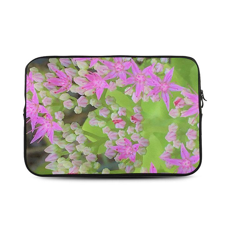 Laptop Sleeve, Hot Pink Succulent Sedum with Fleshy Green Leaves, MacBook Air, MacBook Pro and iPad Mini Sleeves