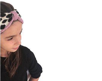 Girl's knit turban, merino wool headband