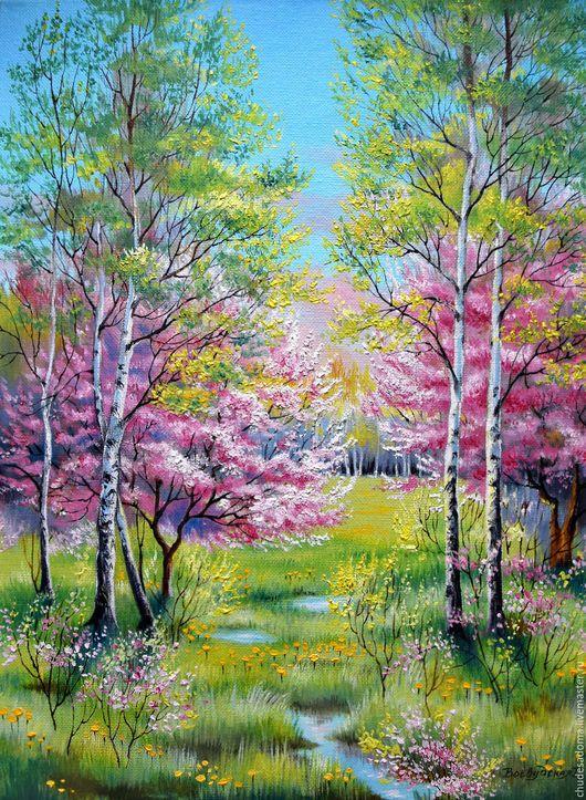 """Пейзаж ручной работы. Ярмарка Мастеров - ручная работа. Купить Картина маслом """"Цветущая весна"""". Handmade. Ярко-зелёный, березы"""