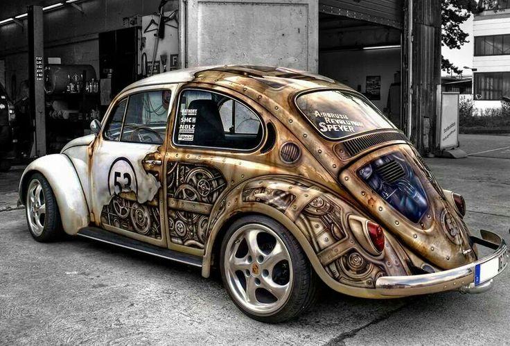 vw herbie bug faded  steampunk vw paint jobs parts bling pinterest vw beetles vw