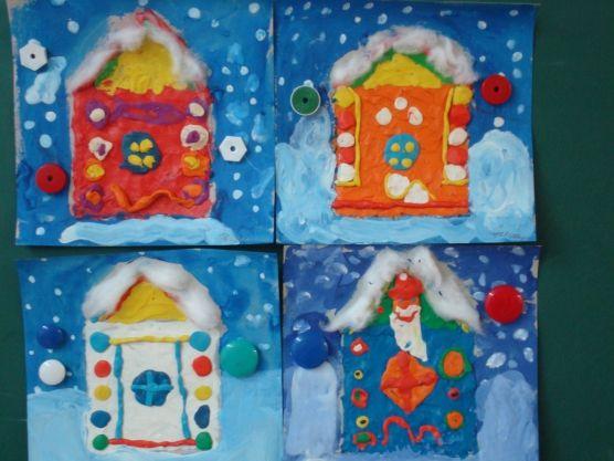 «Избушка Деда Мороза» (пластилинография и рисование)